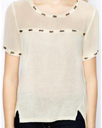 Aryn K. | Natural Jersey Mix Tshirt with Embroidered Trim | Lyst