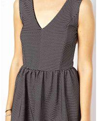 Glamorous - Gray Textured Skater Dress - Lyst