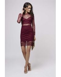TOPSHOP - Purple Lace Bodycon Dress - Lyst