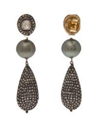 Samira 13 - Gray Tear Drop Pearl Earring - Lyst