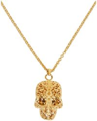 Alexander McQueen - Metallic Gold Filigree Skull Pendant Necklace - Lyst
