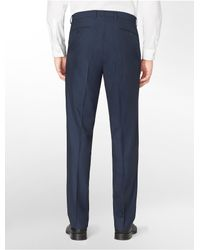 Calvin Klein - Blue White Label Classic Fit Shiny Navy Herringbone Suit Pants for Men - Lyst