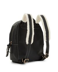 Kensie | Black Sherpa-trimmed Leatherette Backpack | Lyst