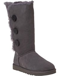UGG | Gray Bailey Button Triplet Boot Grey Suede | Lyst