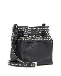 Miu Miu - Black Embellished Leather Shoulder Bag - Lyst