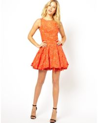 AX Paris - Orange Lace Skater Dress - Lyst