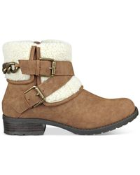G by Guess | Brown Duane Faux-fur Cuffed Booties | Lyst