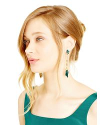 Oscar de la Renta - Blue Teal Tulip Pave Drop Earrings - Lyst