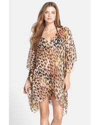 Echo - Brown 'jungle' Short Caftan Cover-up - Lyst