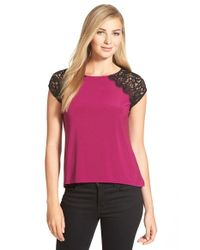 Cece by Cynthia Steffe | Purple Lace Shoulder Knit Top | Lyst