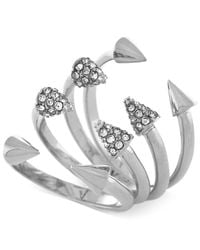 Vince Camuto - Metallic Silver-tone Crystal Arrowhead 4-piece Stack Ring Set - Lyst