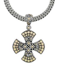 John Hardy | Metallic Jaisalmer Gold And Silver Medium Cross Pendant | Lyst