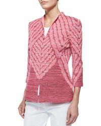 Misook - Orange 3/4-sleeve Diagonal Lines Jacket - Lyst