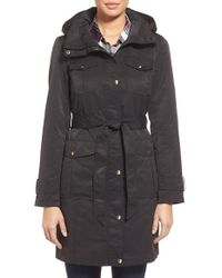 Ellen Tracy | Black Belted Utility Trench Coat | Lyst