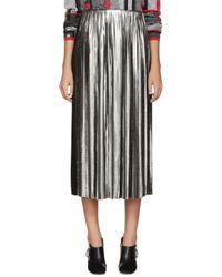 Loewe - Metallic Silver And Black Pleated Tea Skirt - Lyst