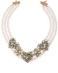 Betsey Johnson | Green Rose Gold-Tone Imitation Pearl Mint Heart Three-Row Necklace | Lyst