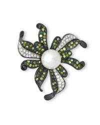 Kenneth Jay Lane | Multicolor Multi Green Flower Brooch | Lyst