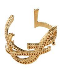 Saint Laurent   Metallic Monogramme Chain Cuff   Lyst