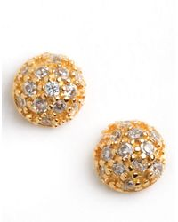 Lord & Taylor | Metallic 18 Kt Gold Plated Pave Ball Stud Earrings | Lyst