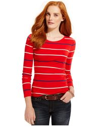 Tommy Hilfiger | Red Striped Long-sleeve Tee | Lyst