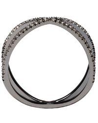Eva Fehren - Metallic Blackened Gold Diamond Shorty Ring - Lyst