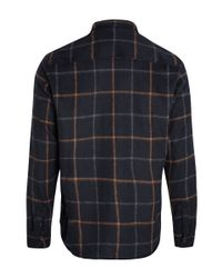 A.P.C. - Blue Navy Check Wool Overshirt for Men - Lyst