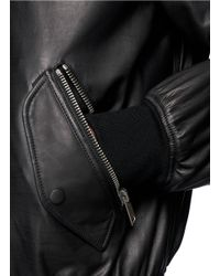 Alexander McQueen - Black Rabbit Fur Lining Leather Bomber Jacket for Men - Lyst