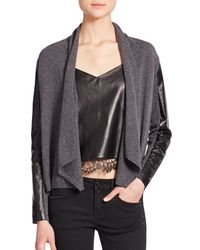 The Kooples | Gray Wool, Cashmere & Leather Cardigan | Lyst