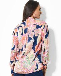 Ralph Lauren - Blue Paisley Print Blouse - Lyst