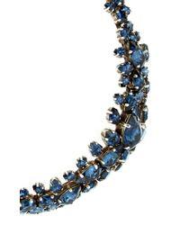 Ryan Storer - Blue Oxidized Silver Plated Swarovski Crystal Choker With Back Drop Detail - Lyst