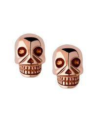 Links of London | Metallic Rose Gold Vermeil Mini Skull Stud Earrings | Lyst