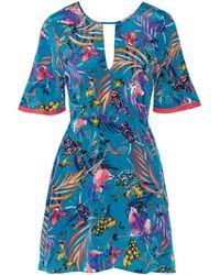 Matthew Williamson | Blue Crochet-trimmed Printed Silk Crepe De Chine Mini Dress | Lyst