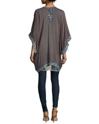 Johnny Was - Gray Shakai Embroidered-Silk Kimono  - Lyst