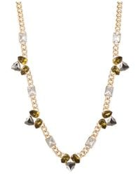 Anne Klein - Metallic Gold-tone Multi-stone Cluster Long Necklace - Lyst