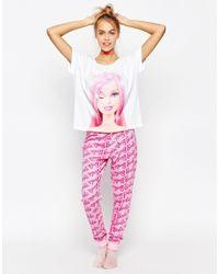 ASOS   Multicolor Winking Barbie Tee And Long Leg Pyjama Set   Lyst