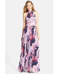 c4d975be71ee Lyst - Eliza J Floral Chiffon Maxi Dress in Purple