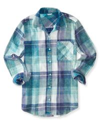 Aéropostale | Blue Long Sleeve Plaid Flannel Woven Shirt for Men | Lyst