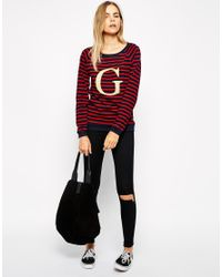 Ganni - Multicolor Striped Logo Jumper - Lyst