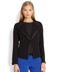 Cut25 by Yigal Azrouël | Black Leathertrim Crepe Jacket | Lyst