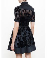 Carven - Black Floral Organza Belted Dress - Lyst