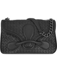 Bottega Veneta | Black Rialto Intrecciato Leather Shoulder Bag | Lyst
