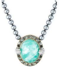 Roberto Cavalli | Green Centre Crystal Beaded Necklace | Lyst