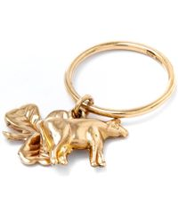 Annina Vogel | Metallic Gold Cow Shamrock Charm Ring | Lyst