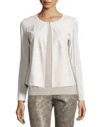 Lafayette 148 New York - White Malak Suede-panel Shimmery Jacket - Lyst