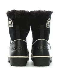 Sorel - Tilovi Black Suede Fleece Lined Snow Boot - Lyst