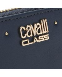 Class Roberto Cavalli - Jet Set Blue Leather Studded Zip Around Wallet - Lyst