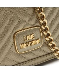 Love Moschino | Metallic Square Quilted Gold Small Shoulder Bag | Lyst