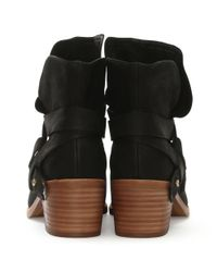 Ugg - Elora Black Suede Stacked Heel Ankle Boots - Lyst