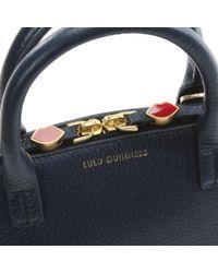 Lulu Guinness - Blue Small Navy Grainy Leather Bobbi Cross-Body Bag - Lyst