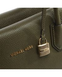 Michael Kors | Green Mercer Large Olive Leather Satchel Bag | Lyst